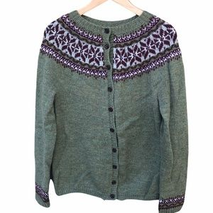 Handmade Hand Knit Fair Isle Button Front Cardigan Sweater Medium Green